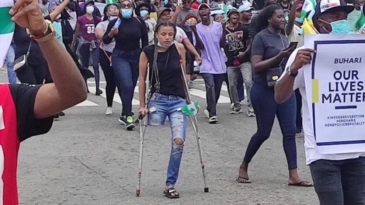 Jane Obiene-protester-amputatee