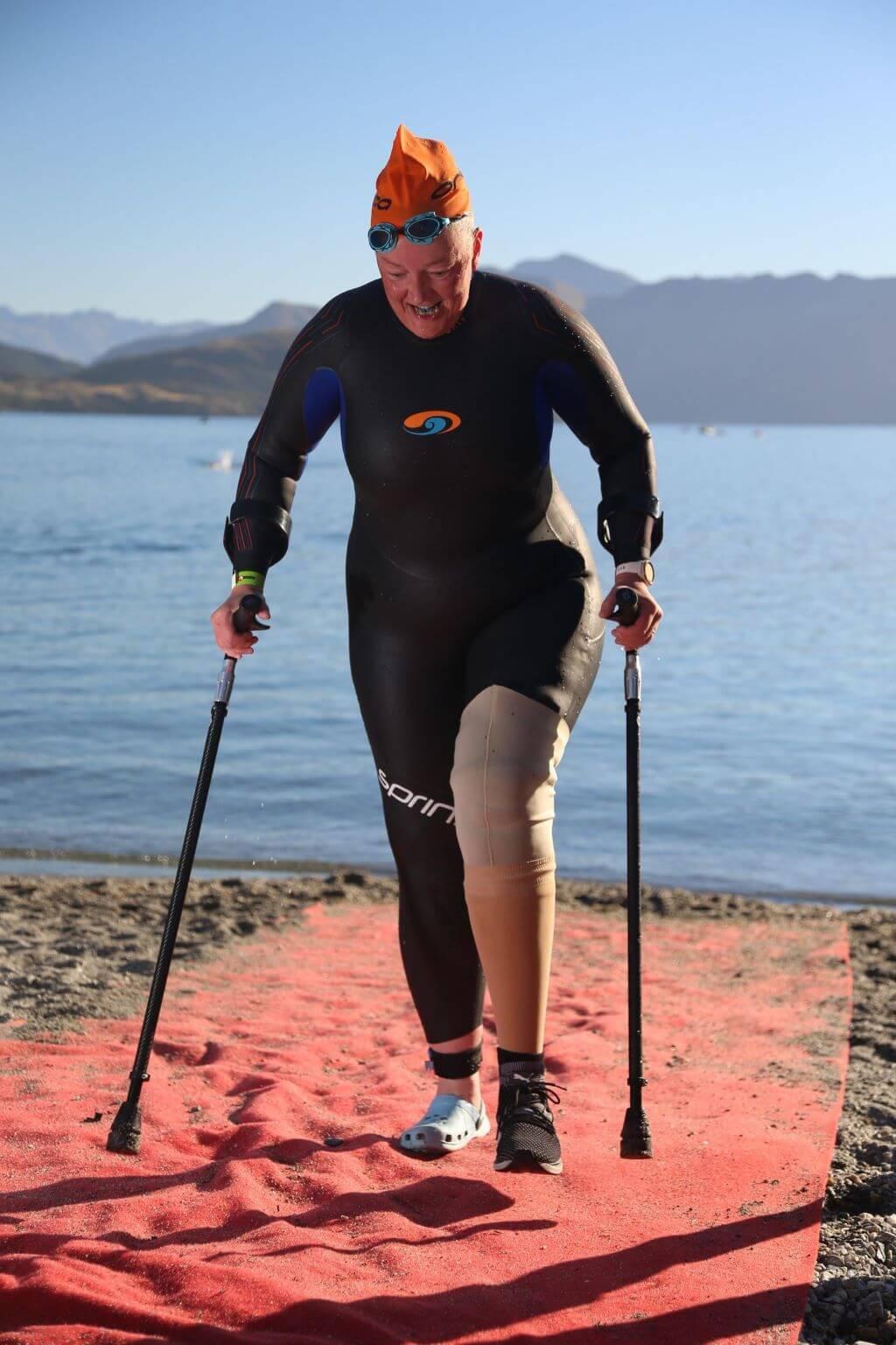 Swim exit.. prosthetic leg on over wetsuit